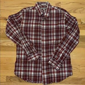 Men's EXPRESS burgundy button down shirt